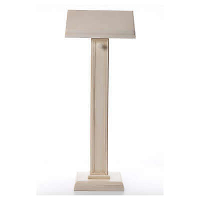 Lectern in walnut wood with squared pedestal, ivory colour