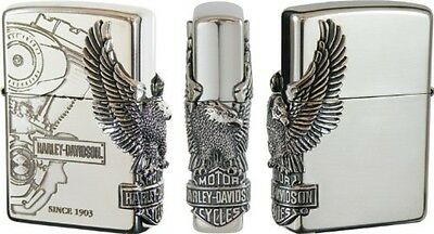 Zippo Oil lighter Harley Davidson HDP-03 Limited Edition Silver 3 Face Designed