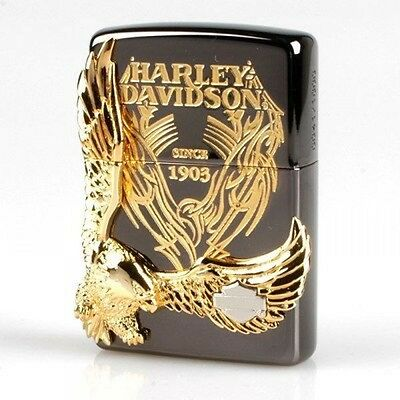 Zippo Oil lighter Harley Davidson HDP-15 Limited Edition Black Gold Plated  1903