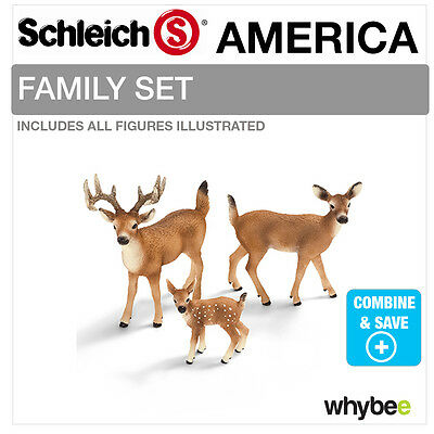 SCHLEICH WHITE TAILED DEER FAMILY Set Including 14710 + 14711 + 14709 Brand New