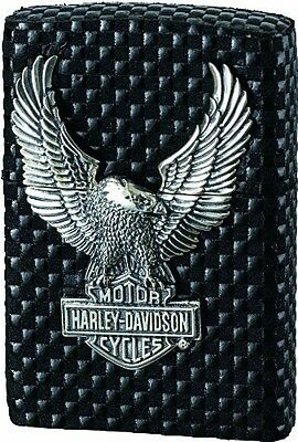 New Zippo Harley Davidson Limited Edition Black Leather x Silver Eagle HDP-19
