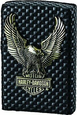 Rare Zippo Harley Davidson Limited Edition Black Leather Gold Brass Eagle HDP-20