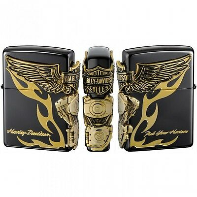 New Zippo Harley Davidson HDP-24 Limited Edition Black x Gold 3 face Design