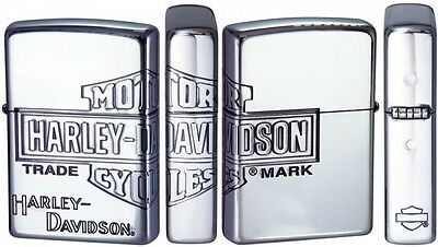 New Zippo Harley Davidson Limited Model Silver Plated LOGO Oil Lighter HDP-34