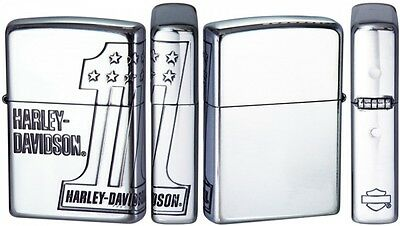 """New Zippo Harley Davidson """"1"""" Limited Edition Silver 3 Face Edging  HDP-35"""