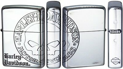 New Zippo Harley Davidson HDP-36 Limited Model Silver Skull 3 Face Edging Design