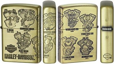 ZIPPO Harley Davidson Engine HDP-47 Limited Edition Gold Brass 3 Face Designed