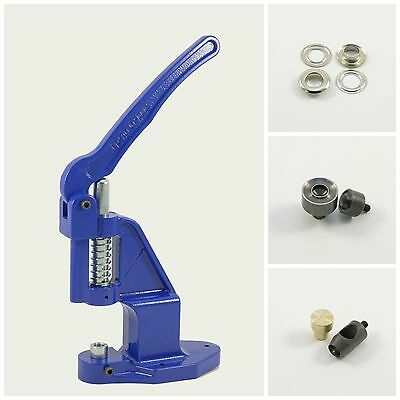 Set manual press + 125 eyelets 17mm silver + 2 tools, press for eyelets, rivets
