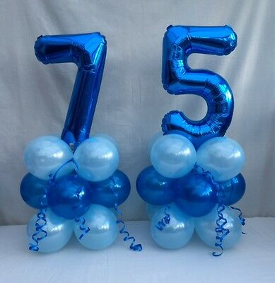 75th Birthday Balloon Kitblue Table Centre Display Party