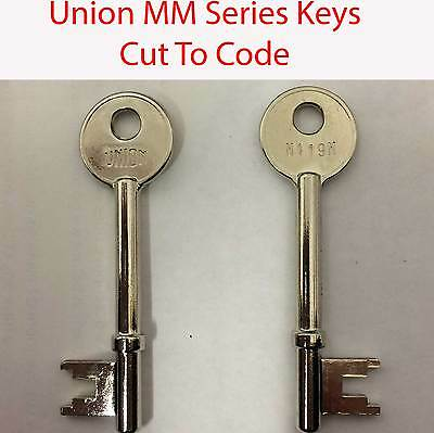 2 x Union Replacement Keys Cut to Code MM Series M100M - M200M