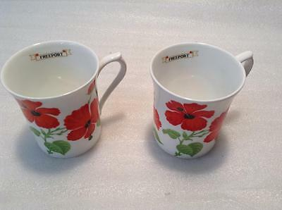 2 Queen's Bone China Coffee cups or Mugs  Garden Flower  Hibiscus  Freeport