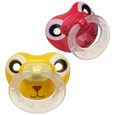 NUK 6-18 Months 2 Pack Animal Face Orthodontic Pacifier Red Pink Yellow BPA Free