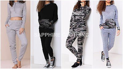 New Womens Ladies Camouflage Army Print Loungewear Set Joggers Tracksuit Pants