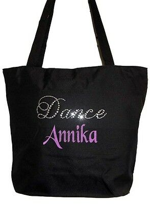 Personalized Black Tote Bag Rhinestone Bling Print Dance Free Shipping