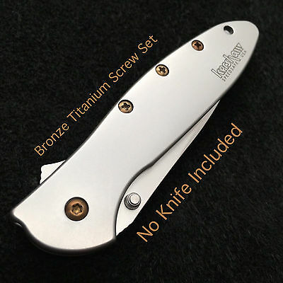 Bronze Titanium Screw set for Kershaw Leek Folder  1660 Leek  No Knife