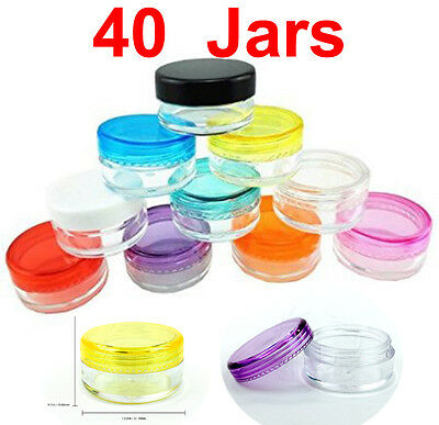 40 x High Quality 5g Gram ML Empty Plastic Sample Pot Jars Cosmetic Containers