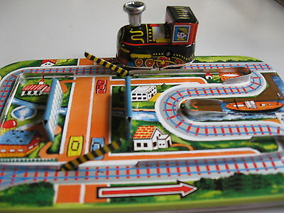 Clockwork Tin Train & Track - Wind Up Model Railroad Engine & Road Boom Gates