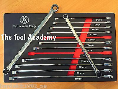 BRITOOL HALLMARK 12pce EXTRA LONG DOUBLE RING SPANNER WRENCH SET RATCHETING