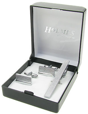 Mens Silver Shirt Cuff Links Tie Clip Pin Set Wedding Xmas Gift Box New Uk Cts9