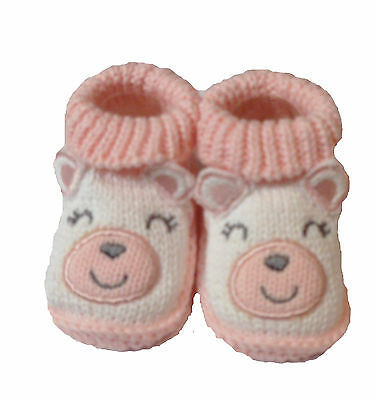 Cute Baby Girls Pink Knitted Cotton Teddy Bear Face Booties Socks 0-6 Months