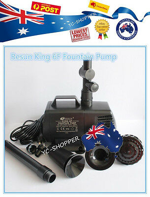 Resun King 6F 8500L/H Fountain and Waterfall Pond Pump -10m cable & Fountain Kit
