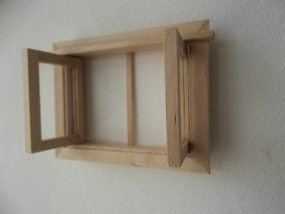 Dolls House Miniatures 1/12 th Scale Small Wooden Window DIY186