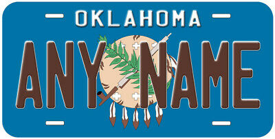 Oklahoma State Flag Any Name Number Novelty Car License Plate