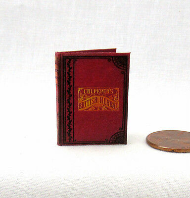 HERBAL REMEDIES Culpepper's British Herbal 1:6 Scale Miniature Book Illustrated