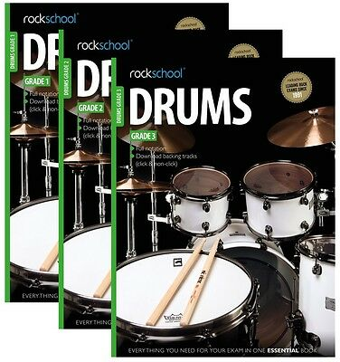 Rockschool Drums 2012-2018 Grades 1,2,3 with Backing Track Download Code