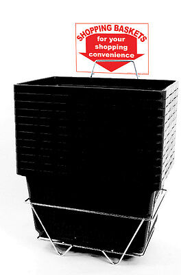 12 Standard Shopping Baskets - Plastic Handles - Metal Stand and Sign - Black