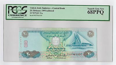 1997 United Arab Emirates (UAE) 20 Dirhams UNC Banknote (PCGS 68 PPQ). Pick 21a
