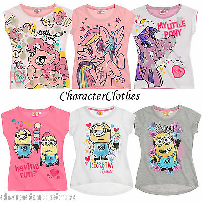 New Girls MINIONS / MY LITTLE PONY T-shirt Kids Short Sleeve Top Age 4-12 Years