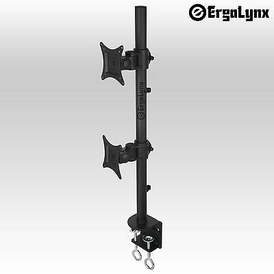 Ergolynx Double Screen VESA Monitor Pole Arm Desk Mount Twin LCD LED TV Clamp 2