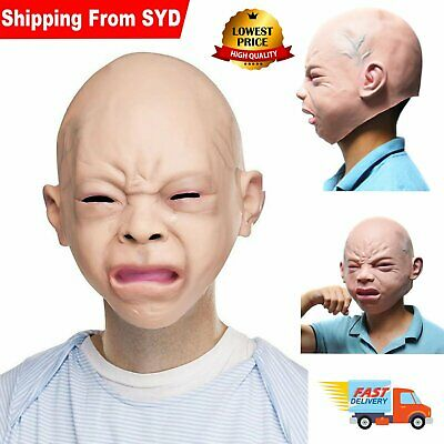 New Realistic Cry Baby Face Head Mask Full Latex Halloween Costume Cosplay Party