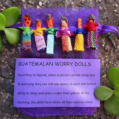 6 Mini Colourful WORRY DOLLS Handmade in Guatemala by Mayan Artisans Fair Trade