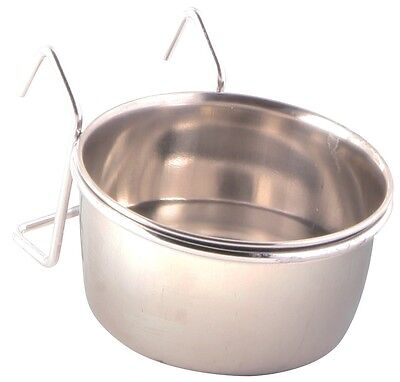 Food or Water Stainless Steel Bowl & Holder Hangs on Bird Cage 150ml 7cm