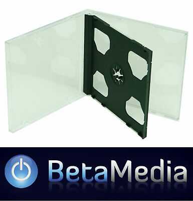 5 x Double Jewel CD Cases with Black Tray - Standard Size CD case