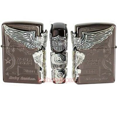 2016 New Model ZIPPO Harley Davidson Limited Model HDP-49 Titanium Brown Silver