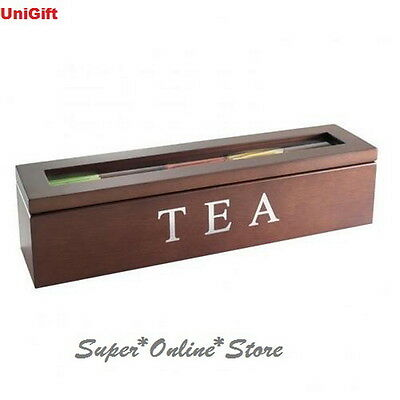 5 Compartments Wooden Tea Box Glass Top Container Storage Chest Tin Gift - Brown