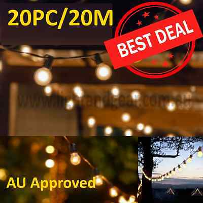 20m 20pc Festoon Party String Light Kit incl. 25w Globes - Retro Vintage Style