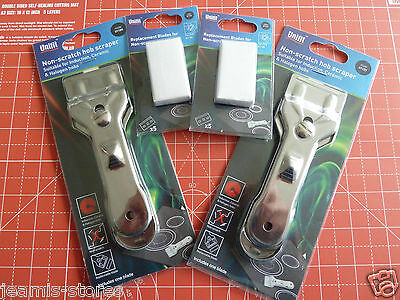 Two Brand New Glass & Ceramic Hob Scraper Knife Cleaner & 5 Spare Blades