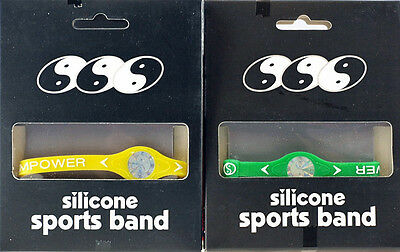 2 X Silicone Rubber Wristband Bracelets Pro Ionic Sport Band GREEN YELLOW LARGE