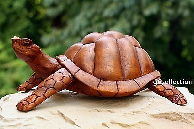 "12"" New Large Wooden Tortoise Turtle Statue Hand Carved Sculpture Wood Art Decor"
