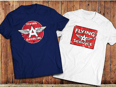'FLYING A' T-Shirt, Retro Gas, Petrol brand  Logo , Vintage Oil, Car Motorsport