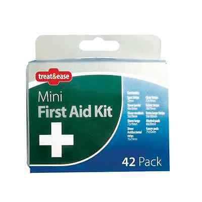 42pc MINI COMPACT TRAVEL FIRST AID CASE KIT EMERGENCY TRIAGE KITCHEN HOME OTL