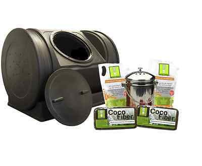 New 7-cu ft Recycled Plastic Tumbler Composter Bin Container Storage Outdoor