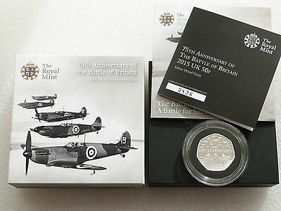 2015 Battle of Britain 50p Fifty Pence Silver Proof Coin Box Coa