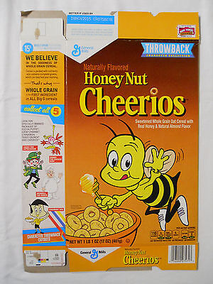 2014 General Mills Honey Nut Cheerios Cereal Box-Throwback Character Collection