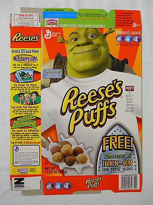 2004 General Mills Reese's Puffs Cereal Box-Shrek 2 Iron-On