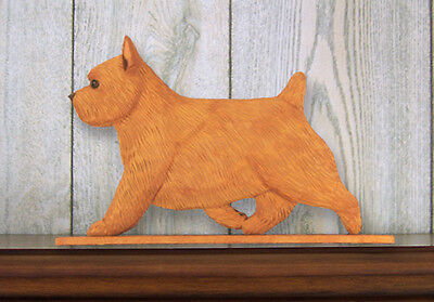 Norwich Terrier Dog Figurine Sign Plaque Display Wall Decoration Red